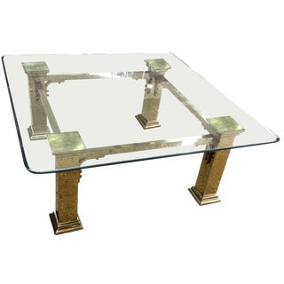 1960s Art Deco Style Solid Brass Coffee Table For Sale