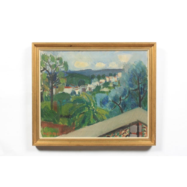 1940 Terrace View of a Mediterranean Village For Sale - Image 5 of 5