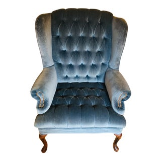 Blue Velvet Tufted Wingback Chair