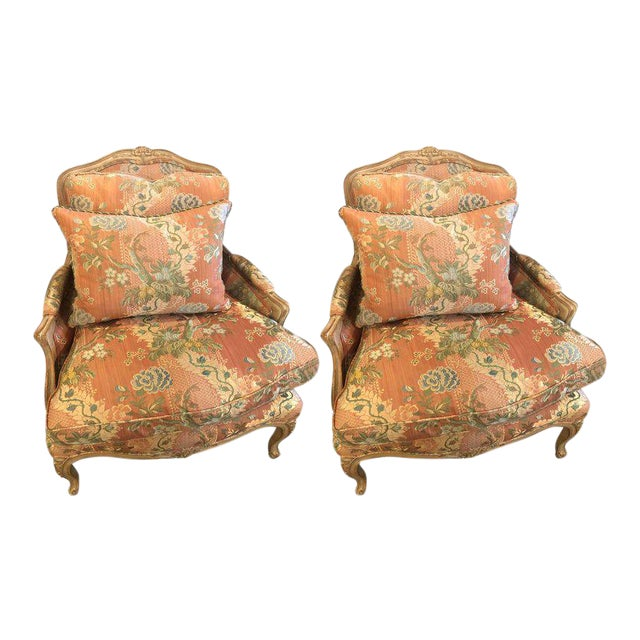 Louis XV Style Overstuffed Bergere Chairs by Maison Jansen - a Pair - Image 1 of 11