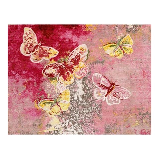 "Hand Knotted Wool and Silk Pink Butterfly Rug - 8' X 10'1"" For Sale"