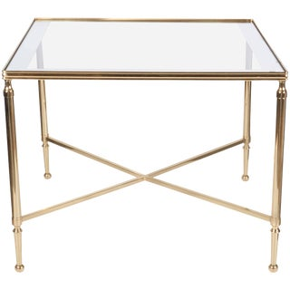 Christofle 1950s Neoclassical Brass and Mirror Top Table For Sale