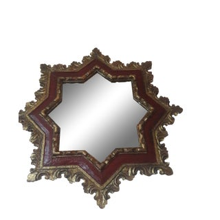 1920s Antique Florentine Gilt Star Mirror For Sale