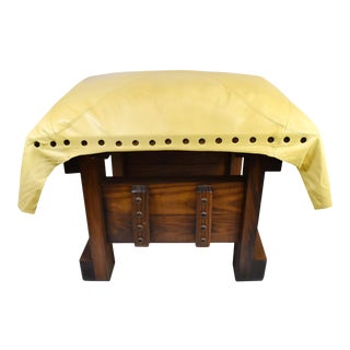Handmade Wood Leather Footrest Stool Ottoman For Sale
