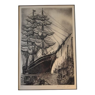 """""""William L White Schooner"""" Lithograph Signed by Alan Jay Gaines For Sale"""