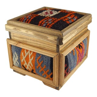 Bohemian Kilim Chest, Turkish Kilim Rug Chest, Vintage Wooden Unique Chest, Mothers Day Present, Jewellery Box, Decorative Storage, Small Gift Boxes For Sale