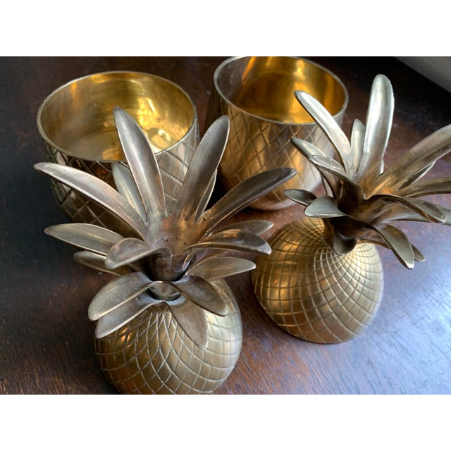 1960s Vintage Solid Brass Lidded Pineapple Containers - A Pair For Sale In Atlanta - Image 6 of 10