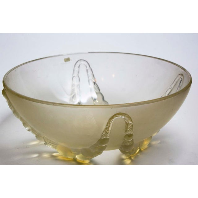 "rare R. Lalique ""Villeneuve"" Opalescent Bowl Circa 1928 In mold signature on exterior below rim. 12"" Diameter x 5"" High"