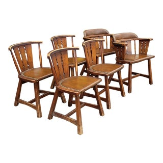 Set 6Form 1960s Maple Country Captains Chairs W/ Leather Seats For Sale