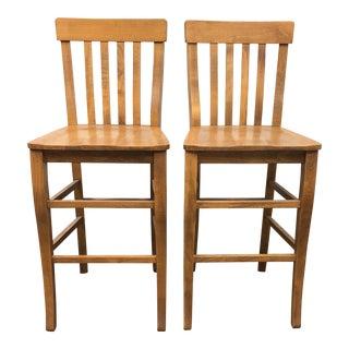 Custom Italian Wooden Barstools - A Pair