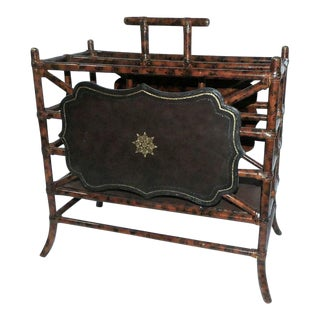 Maitland Smith Bamboo and Leather Magazine Rack For Sale