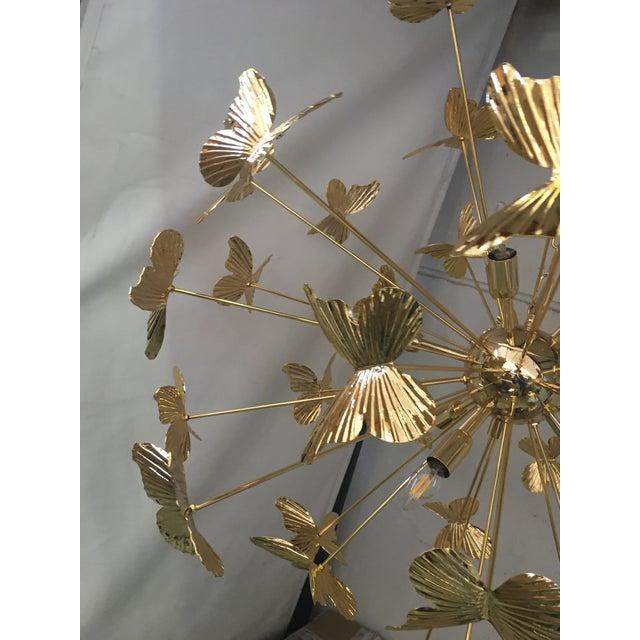 Italian Hand Made Gold 24k Butterfly Sputnik Chandelier For Sale - Image 6 of 13
