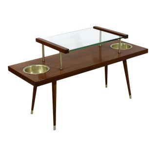 1960s Mid Century Modern 2 Tier Walnut Coffee Table For Sale