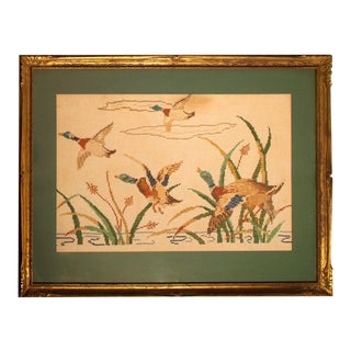 Vintage Needlepoint Mallards in Flight For Sale