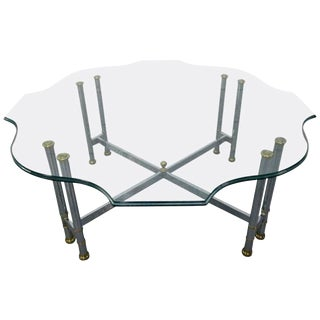 Steel and Brass Coffee Table For Sale