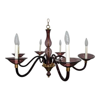 1950s Pauly and Cie Style Purple Murano Glass and Brass Chandelier For Sale