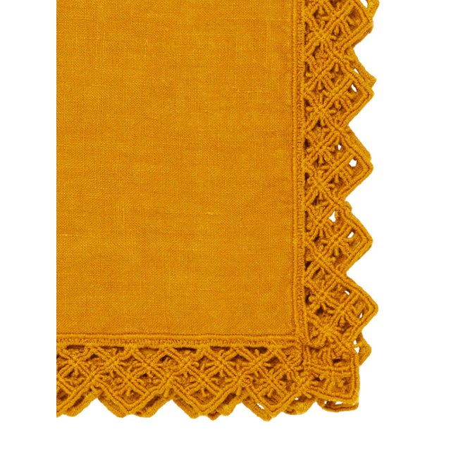 Modern Once Milano Linen Napkin With Macramé in Mustard For Sale - Image 3 of 5