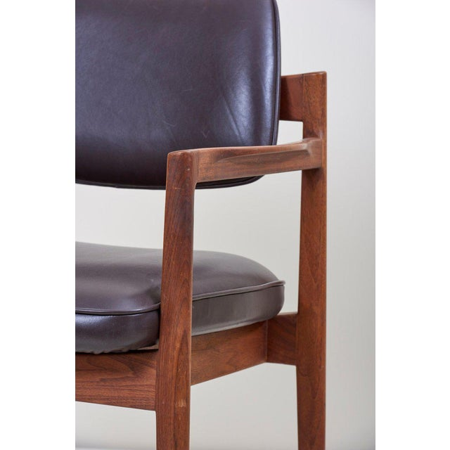 Wood Jens Risom Armchair in Walnut and Leather by Jens Risom Inc. For Sale - Image 7 of 11
