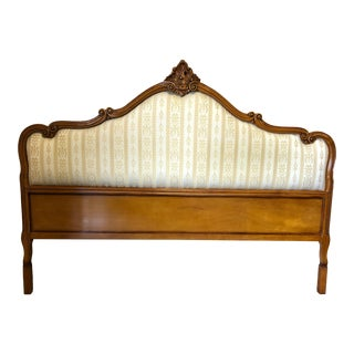 1990s Neoclassical Carved Fruitwood & Upholstered King Headboard For Sale