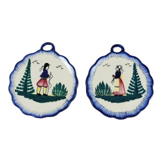1950s Country Quimper Wall Medallions - a Pair