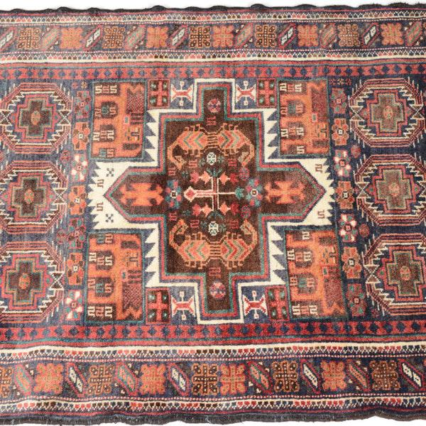 Hand Knotted Persian Baluch Rug - 3′3″ × 6′10″ For Sale - Image 4 of 9