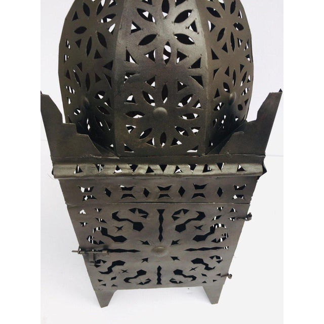 Large Moroccan Hurricane Metal Candle Lantern For Sale - Image 10 of 13