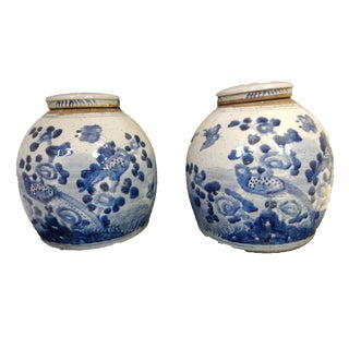 Blue & White Gingers Jars - A Pair For Sale