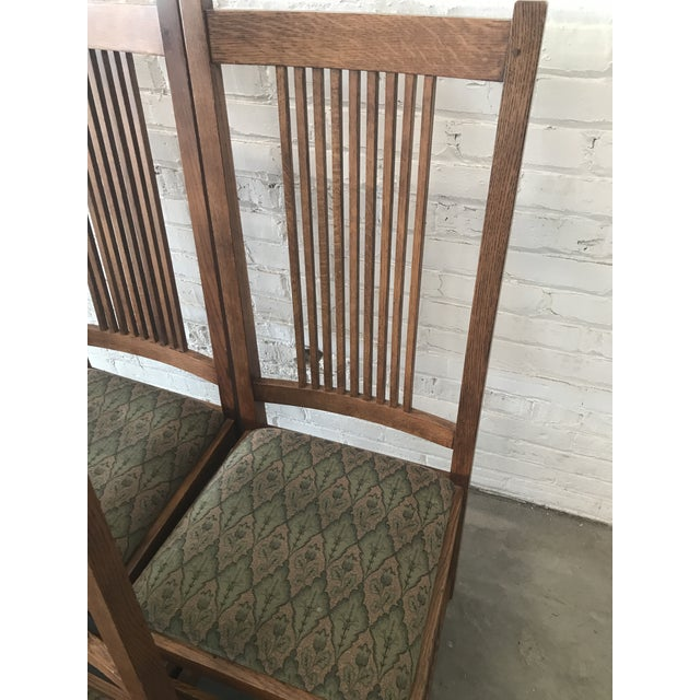 Arts & Crafts Late 20th Century Arts & Craft Mission Stickley Furniture Oak Side Dining Chairs- Set of 6 For Sale - Image 3 of 8