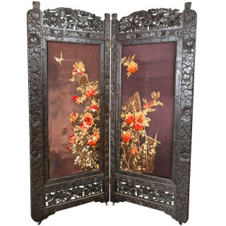 Chinoiserie-Style Embroidered Folding Screen For Sale