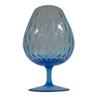 1960s Empoli Aqua Blue Optic Glass Snifter Vase For Sale