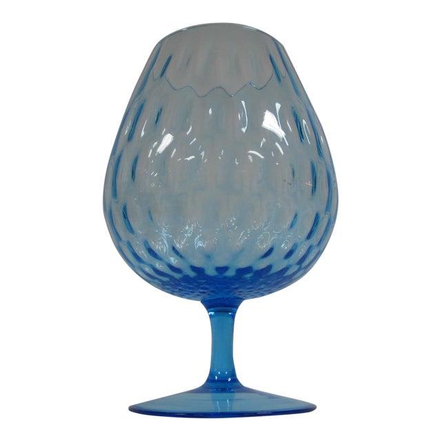 1960s Empoli Aqua Blue Optic Glass Snifter Vase For Sale