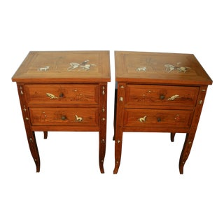 Pair of Italian Bone Inlaid and Marquetry Nightstands Side Tables