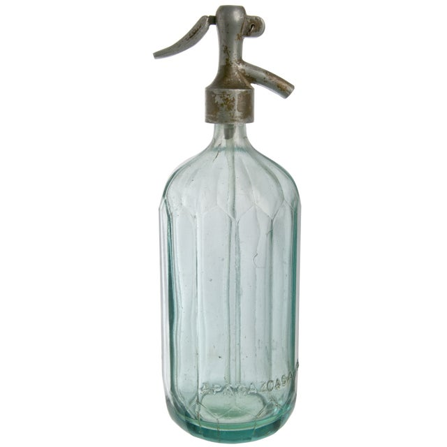 Vintage APA Gazoasa Aqua Glass Seltzer Bottle For Sale