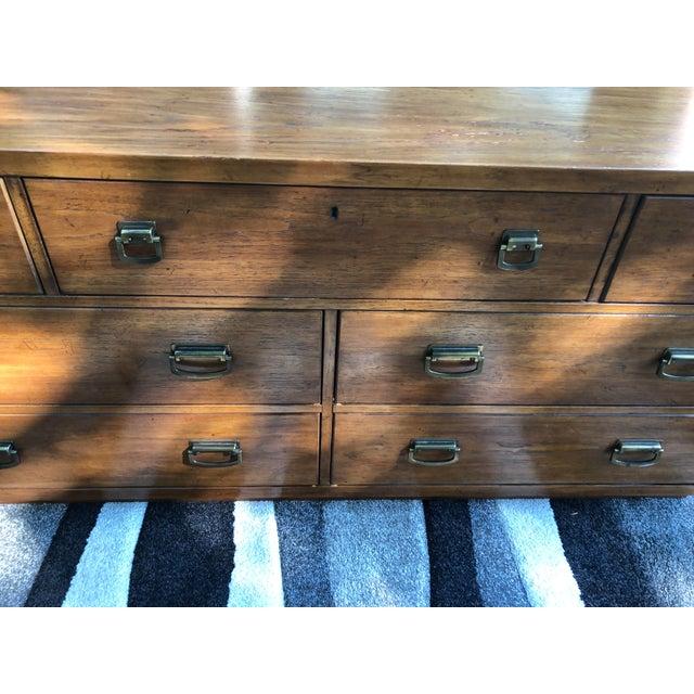 Campaign Vintage Drexel Windwood Campaign Style Solid Oak 7 Drawer Dresser For Sale - Image 3 of 13
