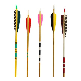 Colorful Vintage Wood Arrows - Set of 5 For Sale
