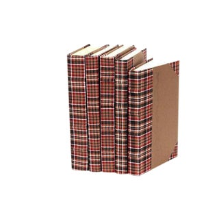 Bespoke Brown Plaid Books - Set of 5 For Sale