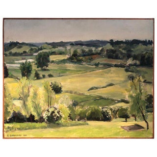 1980s B. Lahaussois Signed Pastoral Impressionist Landscape Painting For Sale