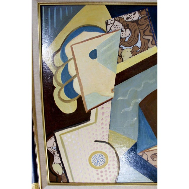 Cubist Style Framed Painting Signed H. Riedel For Sale - Image 4 of 10