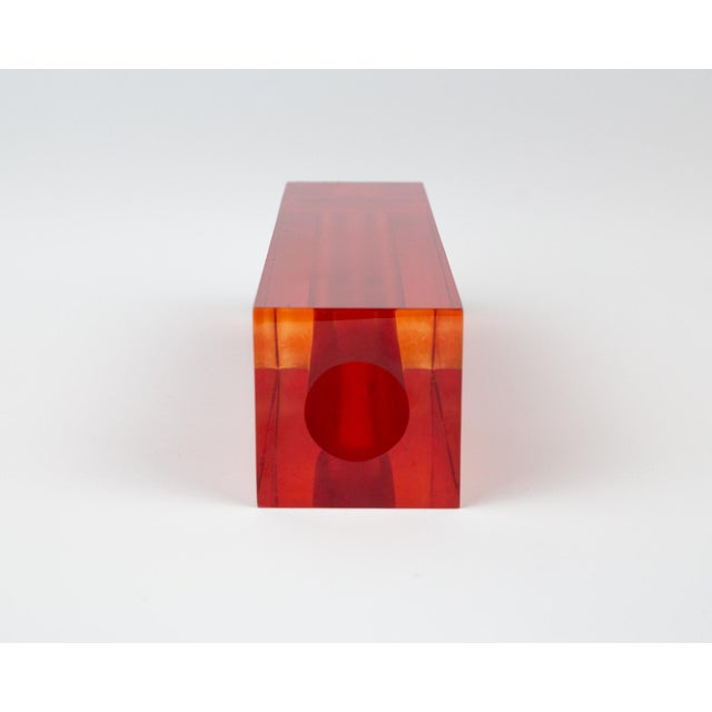 Red Orange Rectangular Lucite Bud Vase For Sale - Image 9 of 12