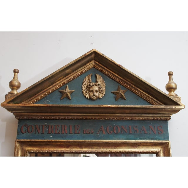 Polychrome and Gilt Pediment Form Mirror For Sale In New Orleans - Image 6 of 8