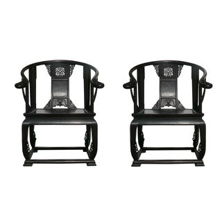 Chinese Old Tan Wood Lotus Bold Armchairs - Pair
