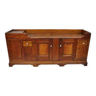 19th Century Antique Pine Wood Primitive Dry Sink Cupboard / Buffet For Sale