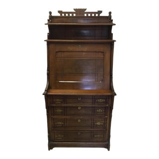Antique Early 20th Century Drop Down Tall Secretary For Sale