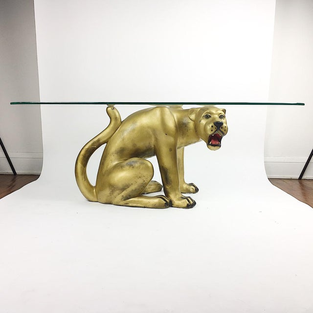 Vintage Hollywood Regency Gold Panther Coffee Table - Image 2 of 11