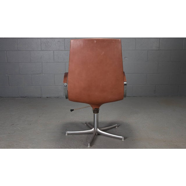 Armchairs in Chrome and Cognac Leather by Walter Knoll- Set of 6 For Sale In Boston - Image 6 of 10