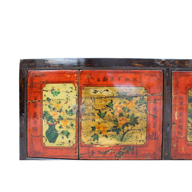 Chinese Distressed Brown Red Doors Long Sideboard Console Table Cabinet For Sale - Image 4 of 9