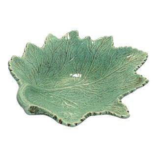 Vintage Green California Craft Leaf Pottery Bowl
