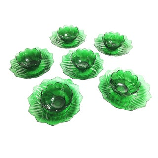 1950s Americana Green Glass Lotus Blossom Plates and Bowls - Set of 12