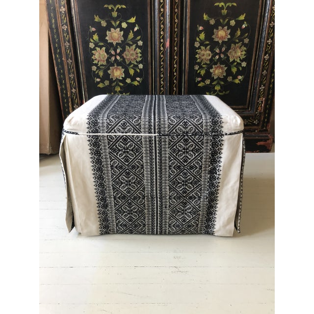 Slipcovered Ottoman in Embroidered F. Schumacher Fabric For Sale - Image 4 of 9