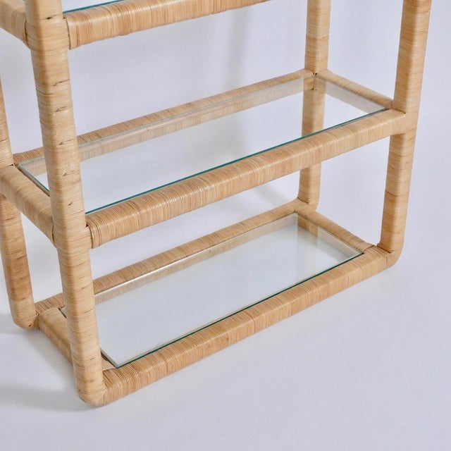 John and Elinor McGuire Midcentury Regency Rattan Cane and Glass Shelving Units - a Pair For Sale - Image 4 of 11